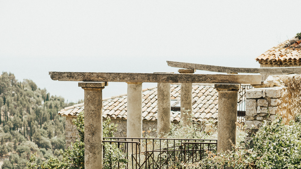 Old pillars with fence