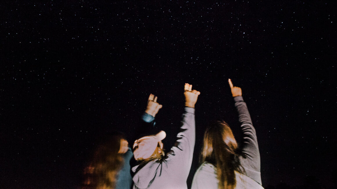 People pointing at a dark sky