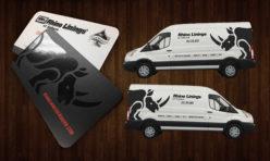 Rhino Linings Spot UV Business Cards + Vehicle Graphics Design