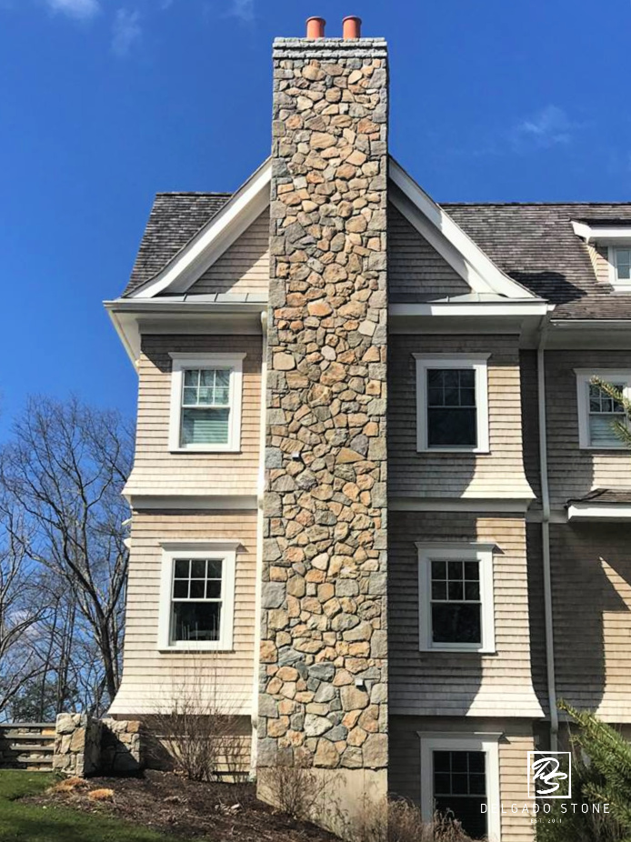 Old New England Wall Chimney Tall