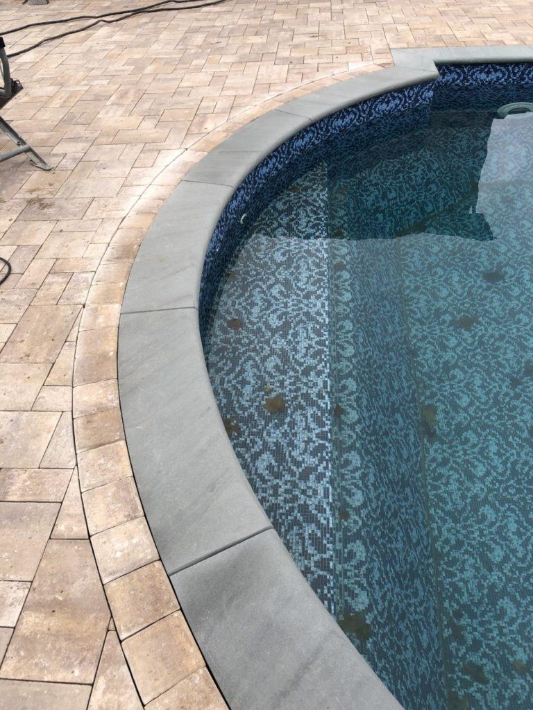 radius pool coping with full nose bluestone sahara chestnut light