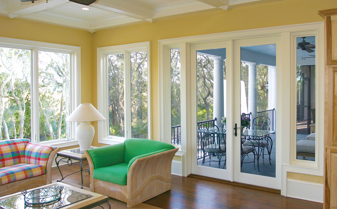 Beautiful room with wood windows, doors, and mouldings