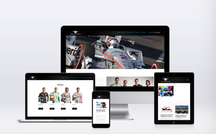 Rising Star Racing website on devices