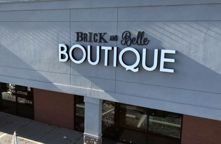 Brick and Belle Boutique Exterior Sign