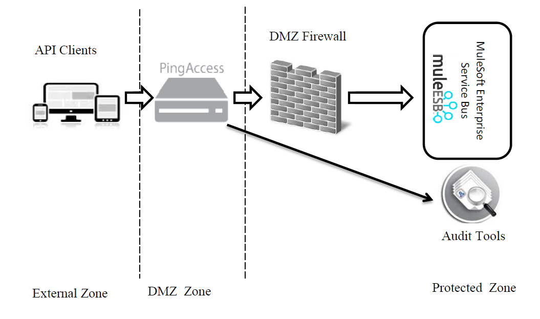 various zones for a DMZ deployment that ultimately helps in API security leveraging Ping Access