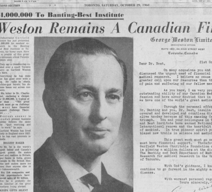 A photograph of newspaper article featuring Galen Weston