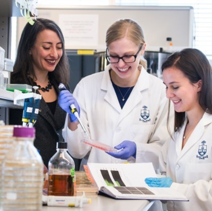 Three researchers at a laboratory at the University of Toronto