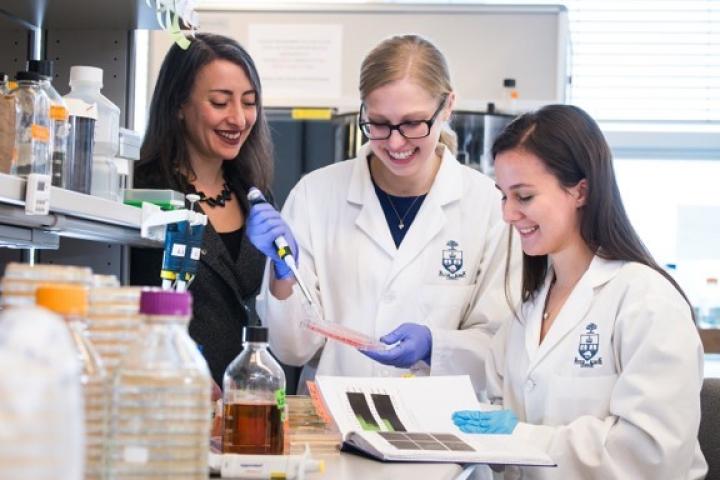 Three researchers at a University of Toronto laboratory