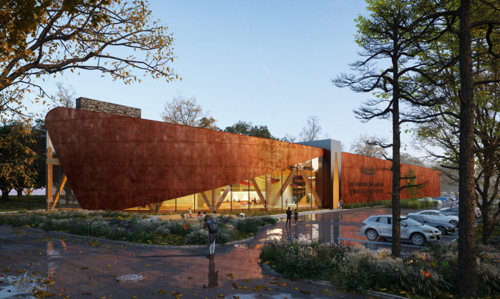 An artist's rendering of the exterior of the Canadian Canoe Museum