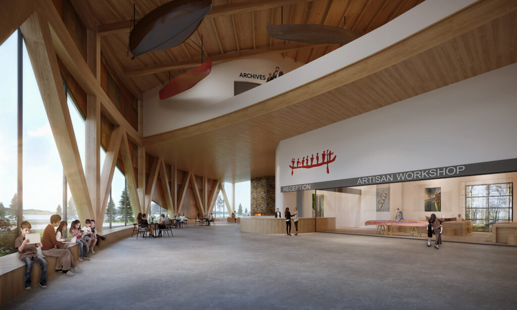 An artist's rendering of the atrium inside the Canadian Canoe Museum