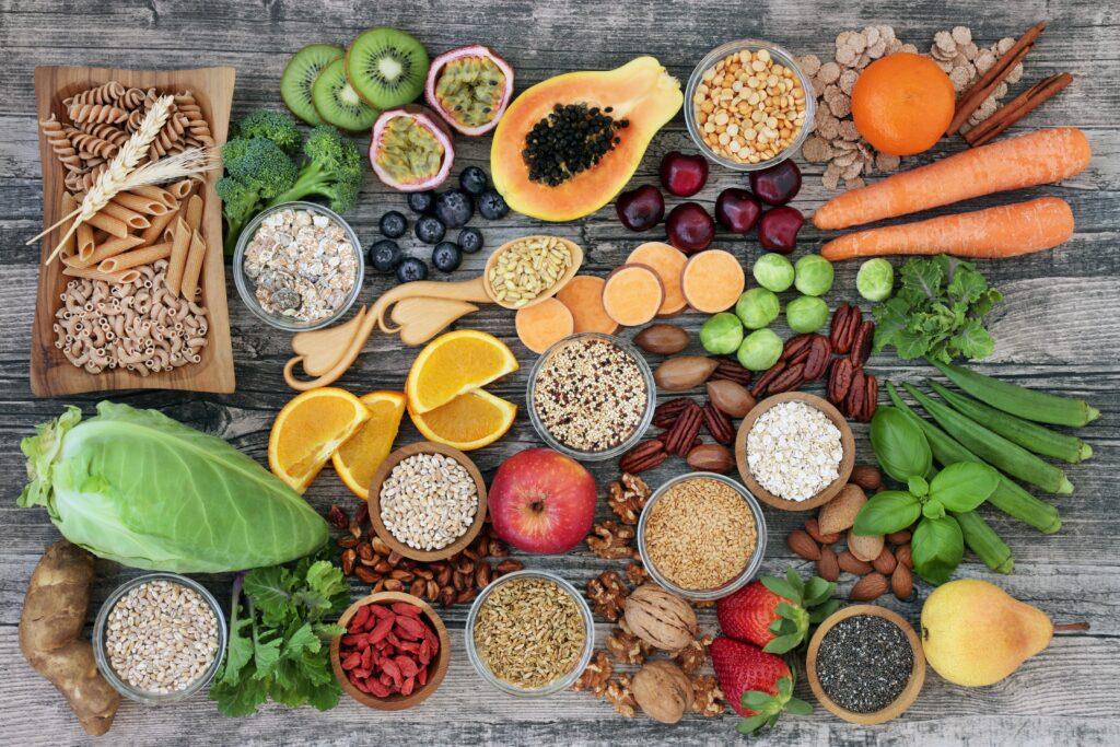 Nutritious food spread across a table