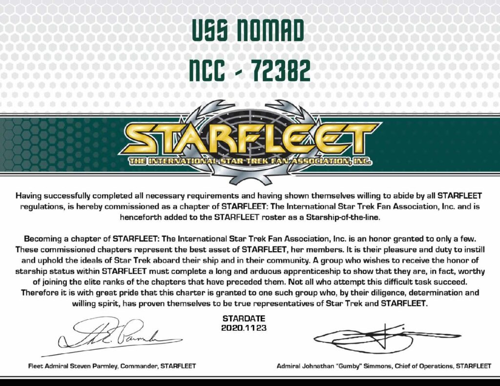 USS NOMAD Commissioning Certificate
