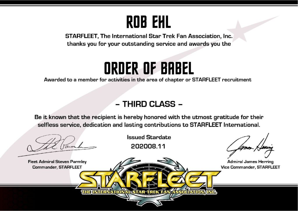 Rob Ehl Order of Bable Third Class