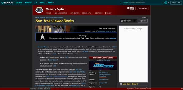 Star Trek: Lower Decks Series Memory Alpha Wiki Fandom