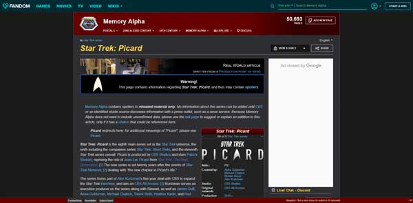 Star Trek: Picard Memory Alpha Wiki Fandom