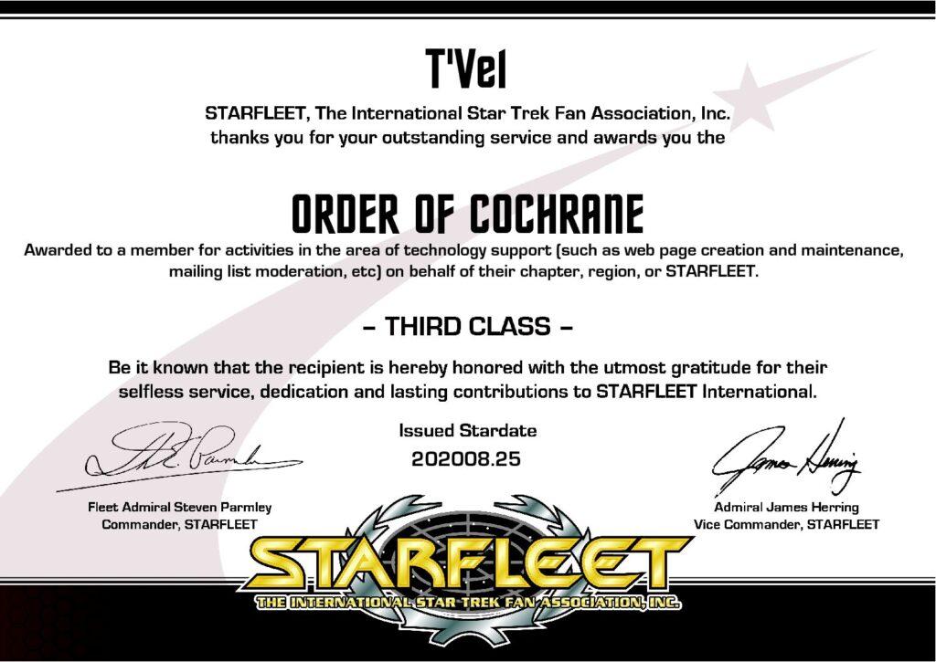 R'Vel Order of Cochrane Third Class