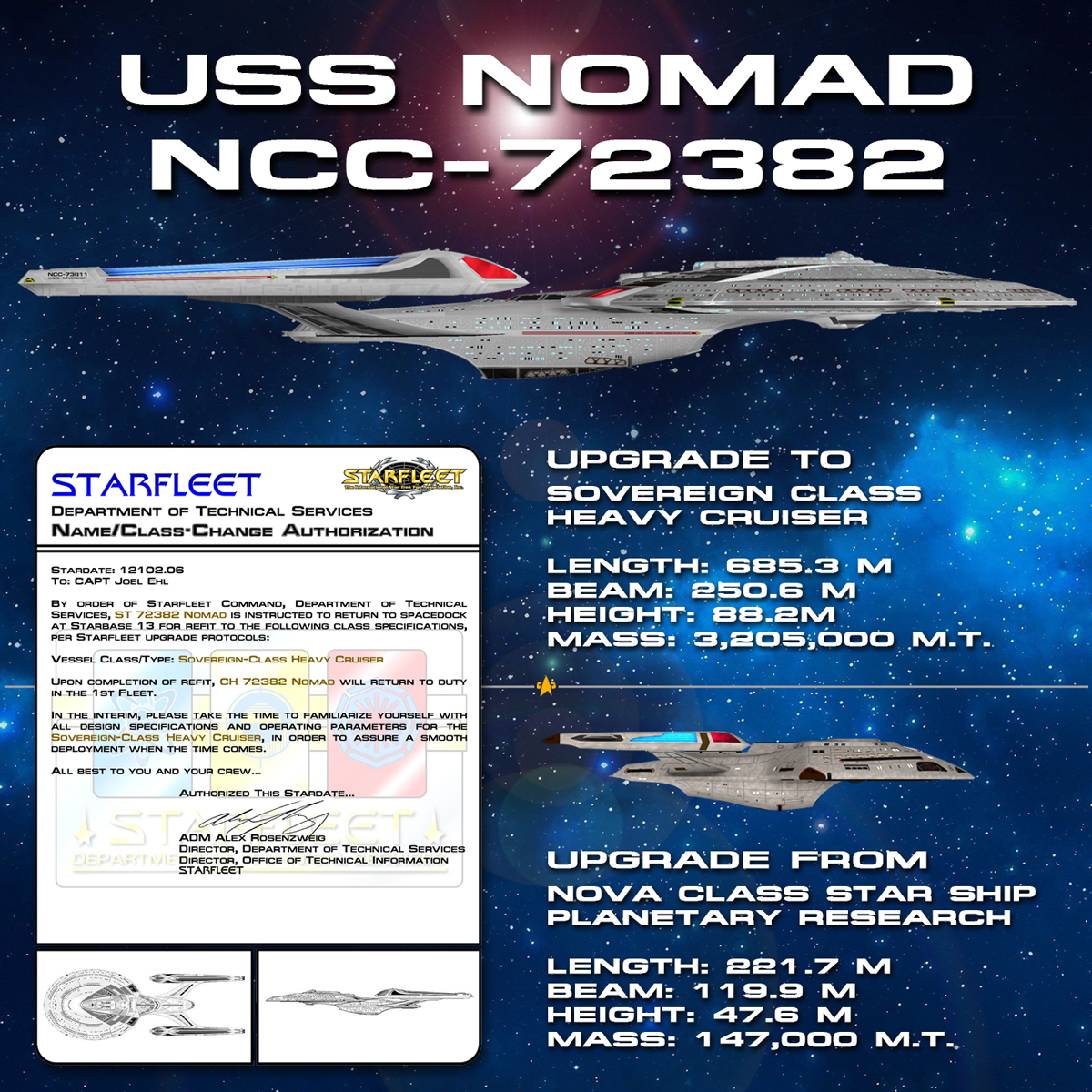USS Nomad upgrade to Sovereign Class Heavy Cruser