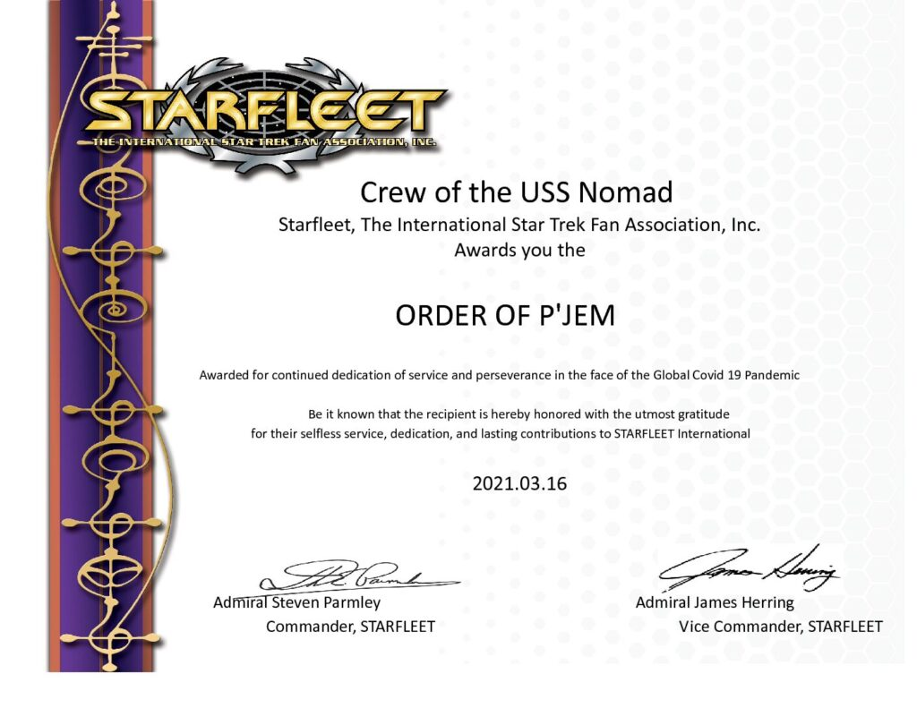 P'Jem to the Crew of the Uss Nomad