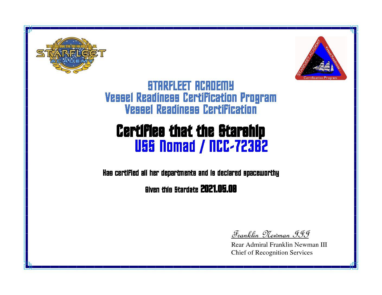 USS NOMAD VESSEL READINESS CERTIFICATION