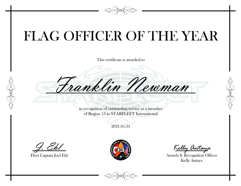 Flag Officer of the Year Franklin Newman - Region 13