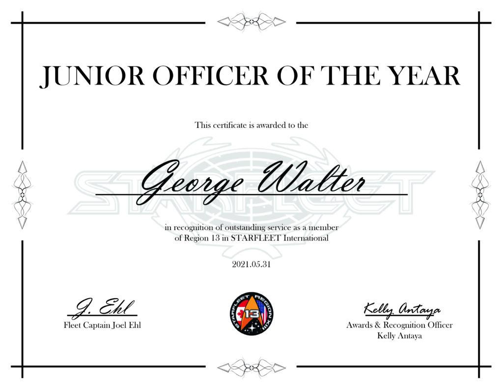 Junior Officer of the Year George Walter - Region 13