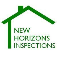 greenoutline of a house with New Horizons Inspections name.