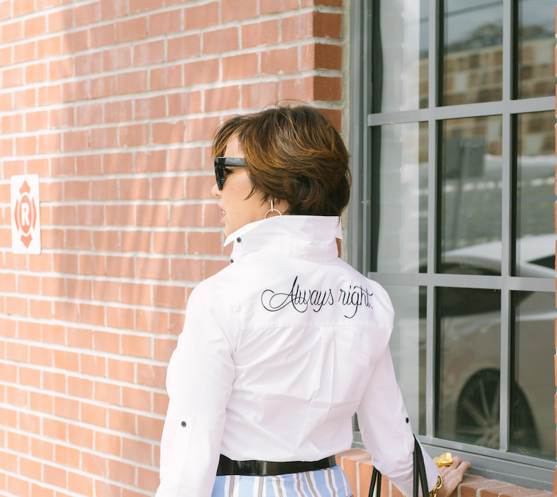 How to look great with a ruffled striped skirt and a white button down