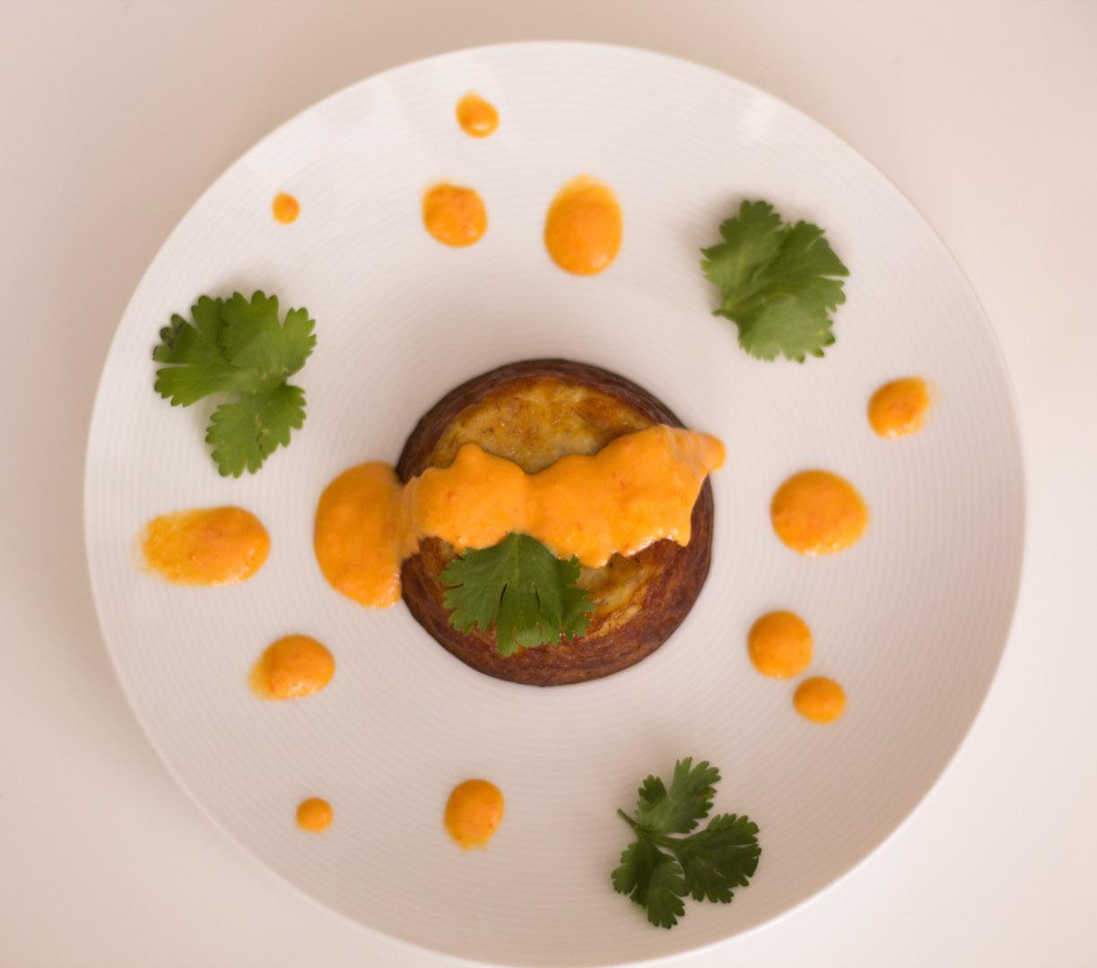 Receta de Mousse de plátano con salsa de ají dulce