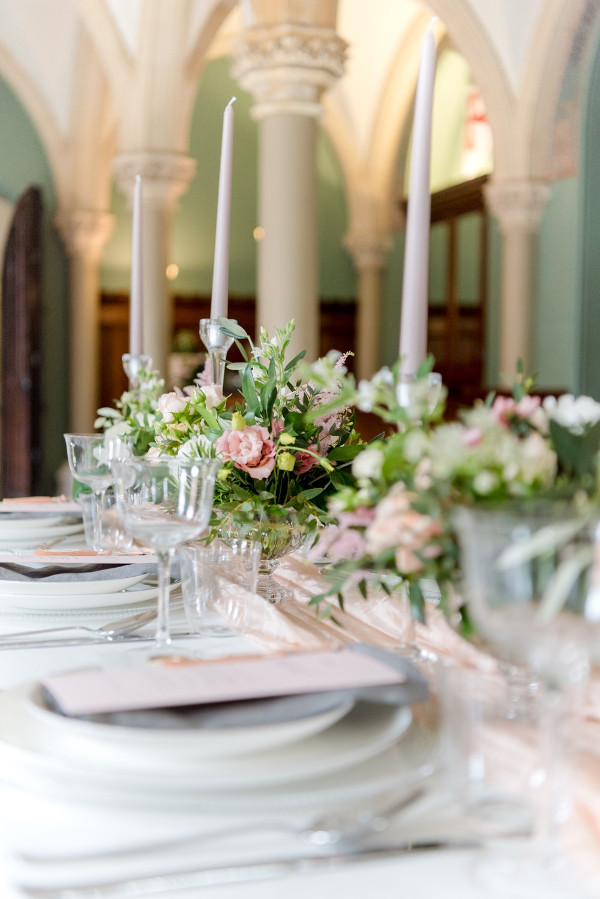 wedding table with candles and centrepieces at Wotton House