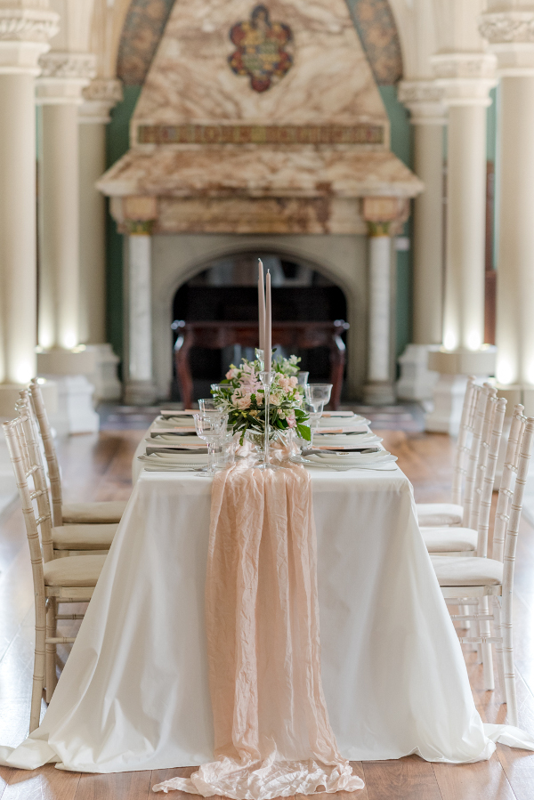 The Old LIbrary at Wotton House historic wedding venue in Dorking, set for a wedding reception Georgina Alexander Weddings Luxury Surrey Wedding Planner UK