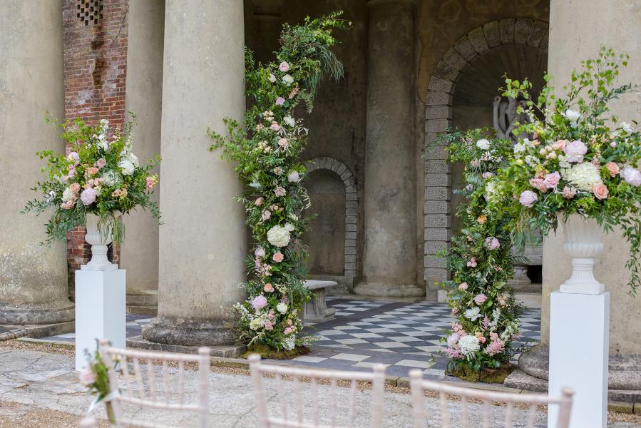 Temple and Italian Gardens at Wotton House historic wedding venue in Dorking, set for an outdoor wedding ceremony Georgina Alexander Weddings Luxury Surrey Wedding Planner UK