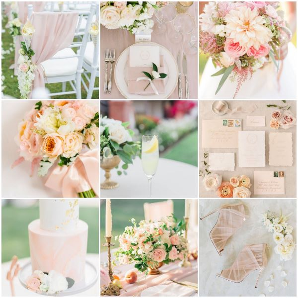 Inspiration board with peach and lemon   wedding shoes, bouquet, stationery, cake and cocktail
