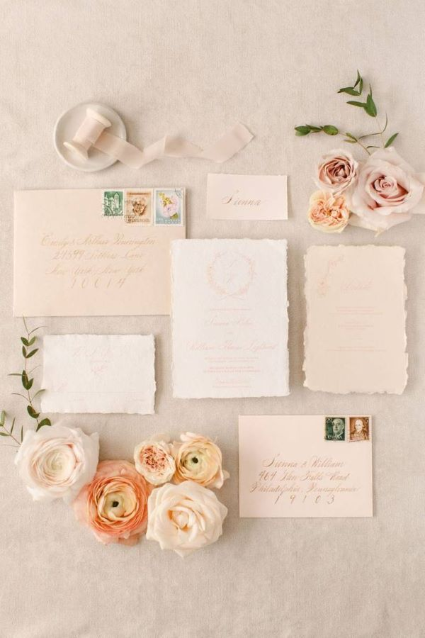 Blush wedding stationery suite