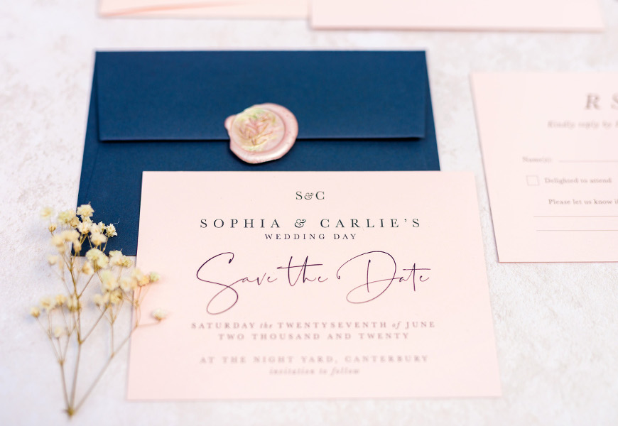 Blush and navy blue Save The Date wedding stationery with wax seal