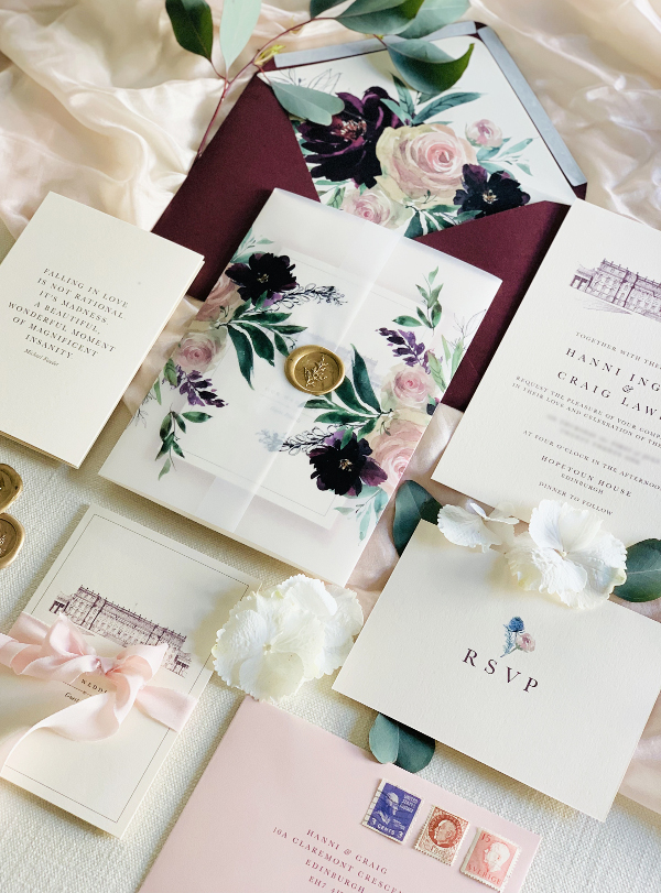 Blush and burgundy floral illustrated wedding stationery