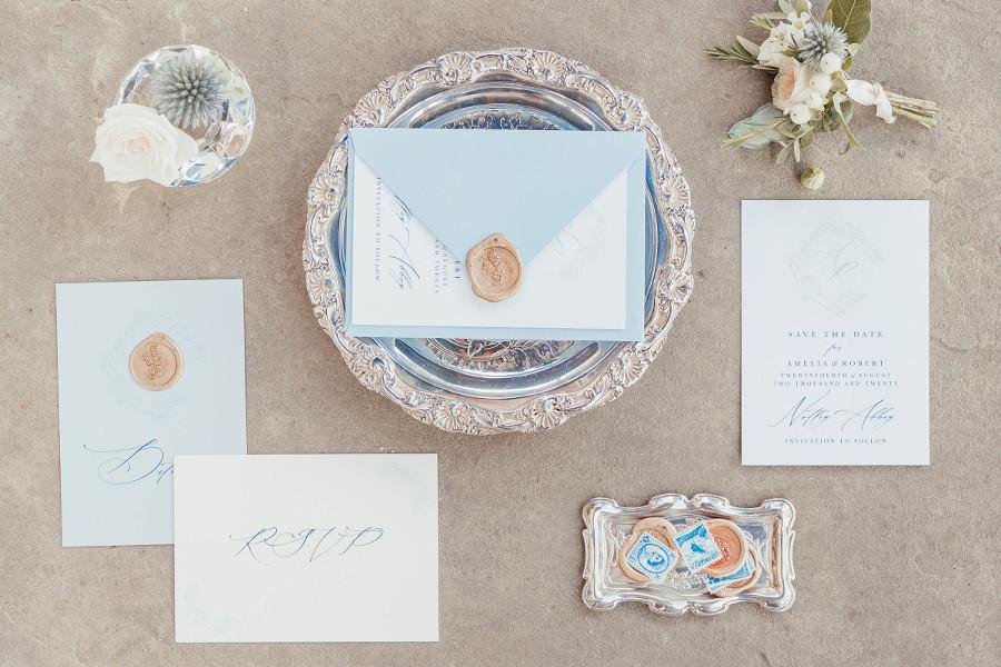 Pale blue calligraphy wedding stationery