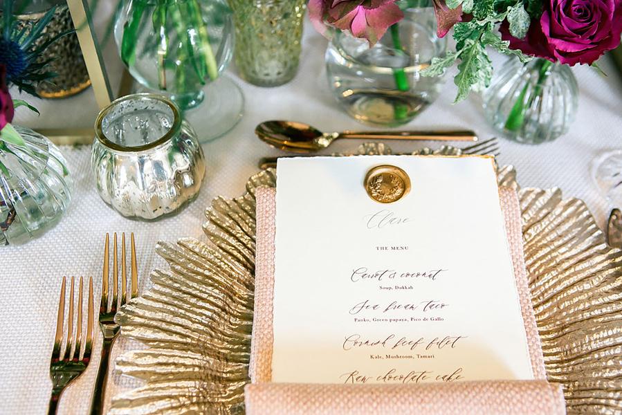 Gold calligraphy wedding menu