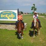 TX ladies riding w Best of America By Horseback TV Show welcomed to De Kalb June 2013
