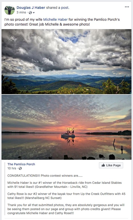 Michelle Haber wins the Pamlico Porch photo contest!