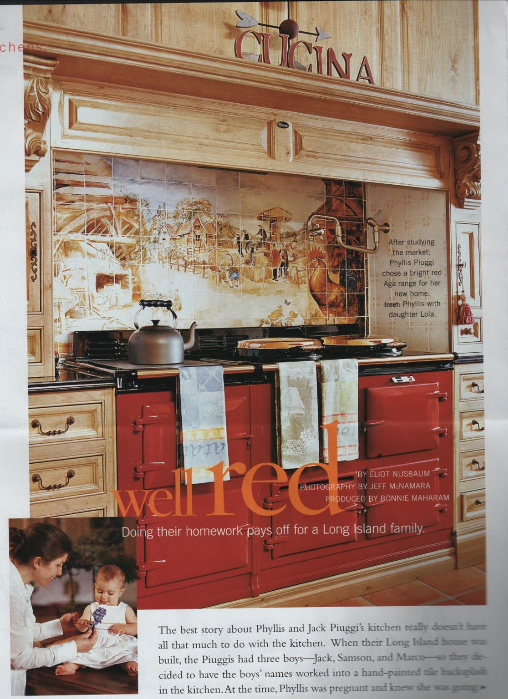 Traditional Home Red AGA with pine cabinetry