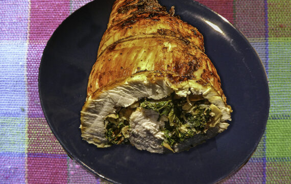 Air Fryer Stuffed Turkey Breast with Bacon, Kale/Spinach, Parmesan