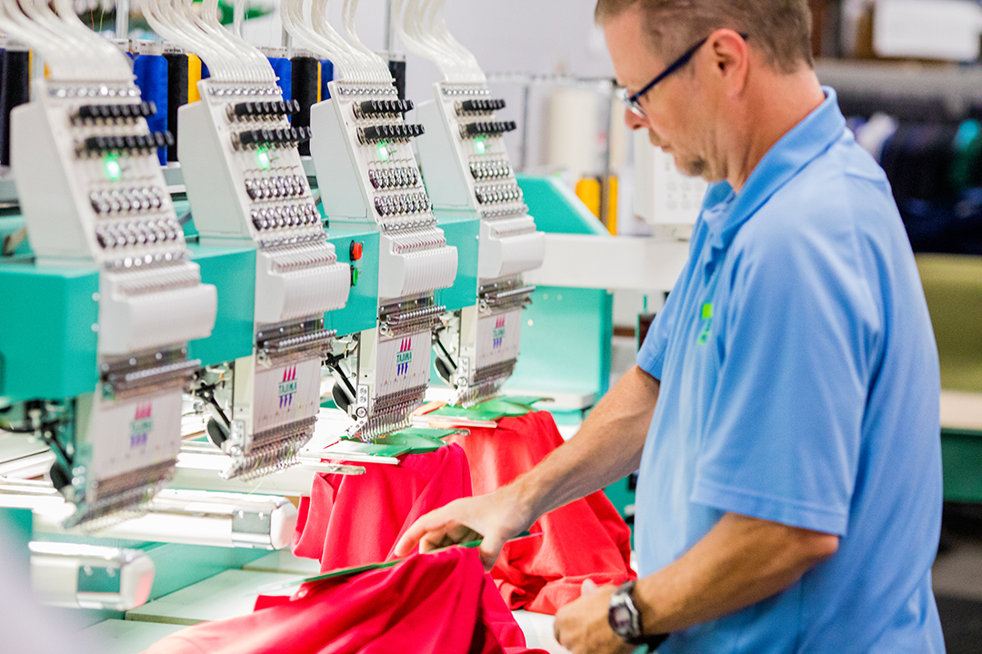 We run multiple multi-head embroidery machines for efficient turnaround of projects