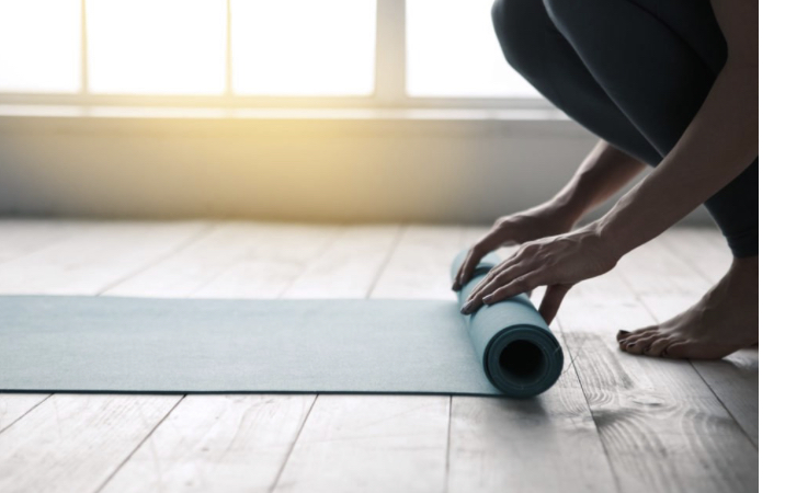At home yoga workout.