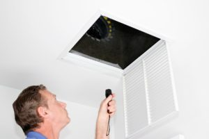Man Inspection a air vent for pests