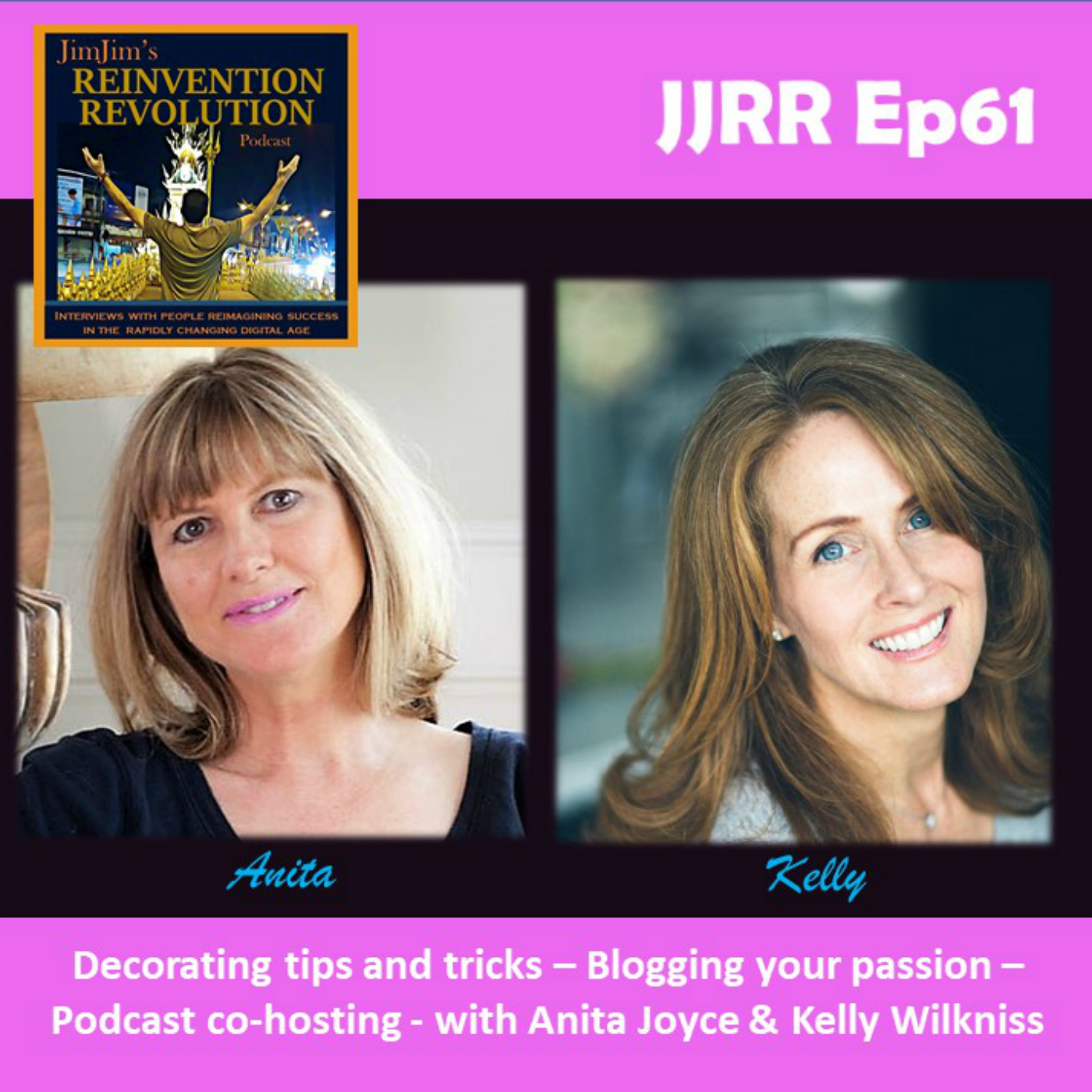 Read more about the article JJRR 61 Decorating tips and tricks – Blogging your passion – Podcast co-hosting with Anita Joyce & Kelly Wilkniss
