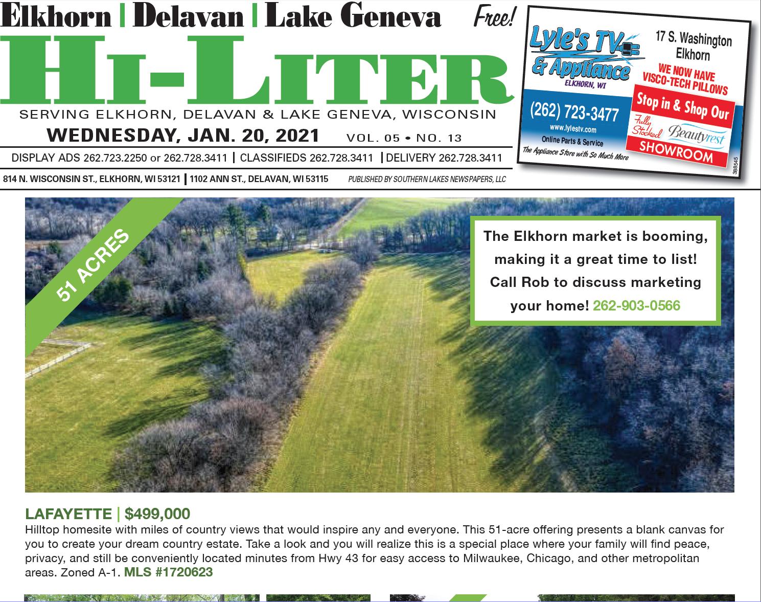 Hi-Liter Elkhorn/Delavan/Lake Geneva 1/20/2021
