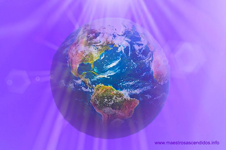Planeta Tierra en Llama Violeta