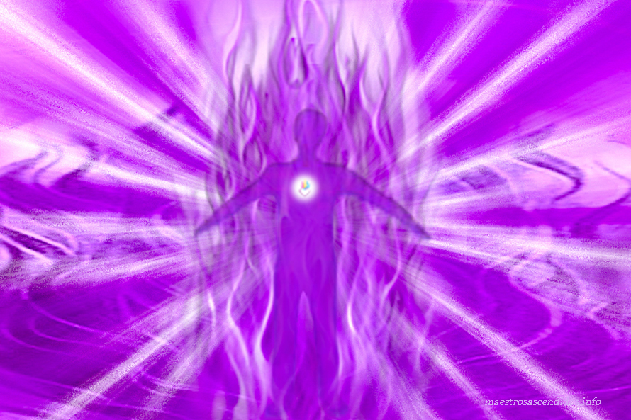 Hombre en Llama Violeta