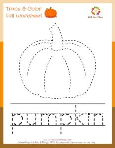 Fall Activity Sheet-Tracing Pumpkin- Free Printable  littleeatsandthings.com