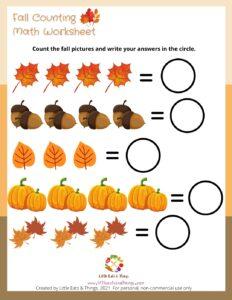 Fall Activity Sheet-Adding- Free Printable  littleeatsandthings.com